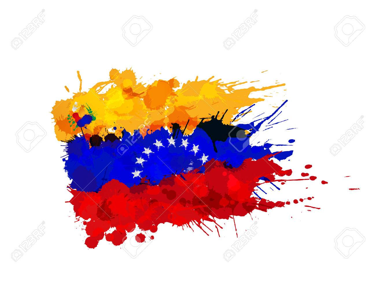 Flag Of Venezuela Made Of Colorful Splashes Royalty Free Cliparts