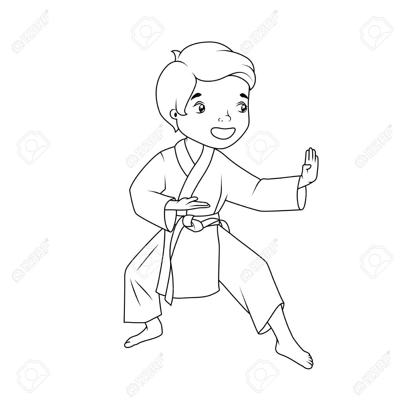 Libro Para Colorear El Niño Pequeño Que Llevaba Practicando Karate Kimono
