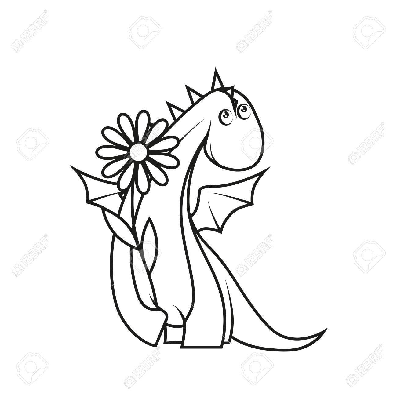 Libro Para Colorear: Holding Lindo Pequeño Dragón Flor Ilustraciones ...