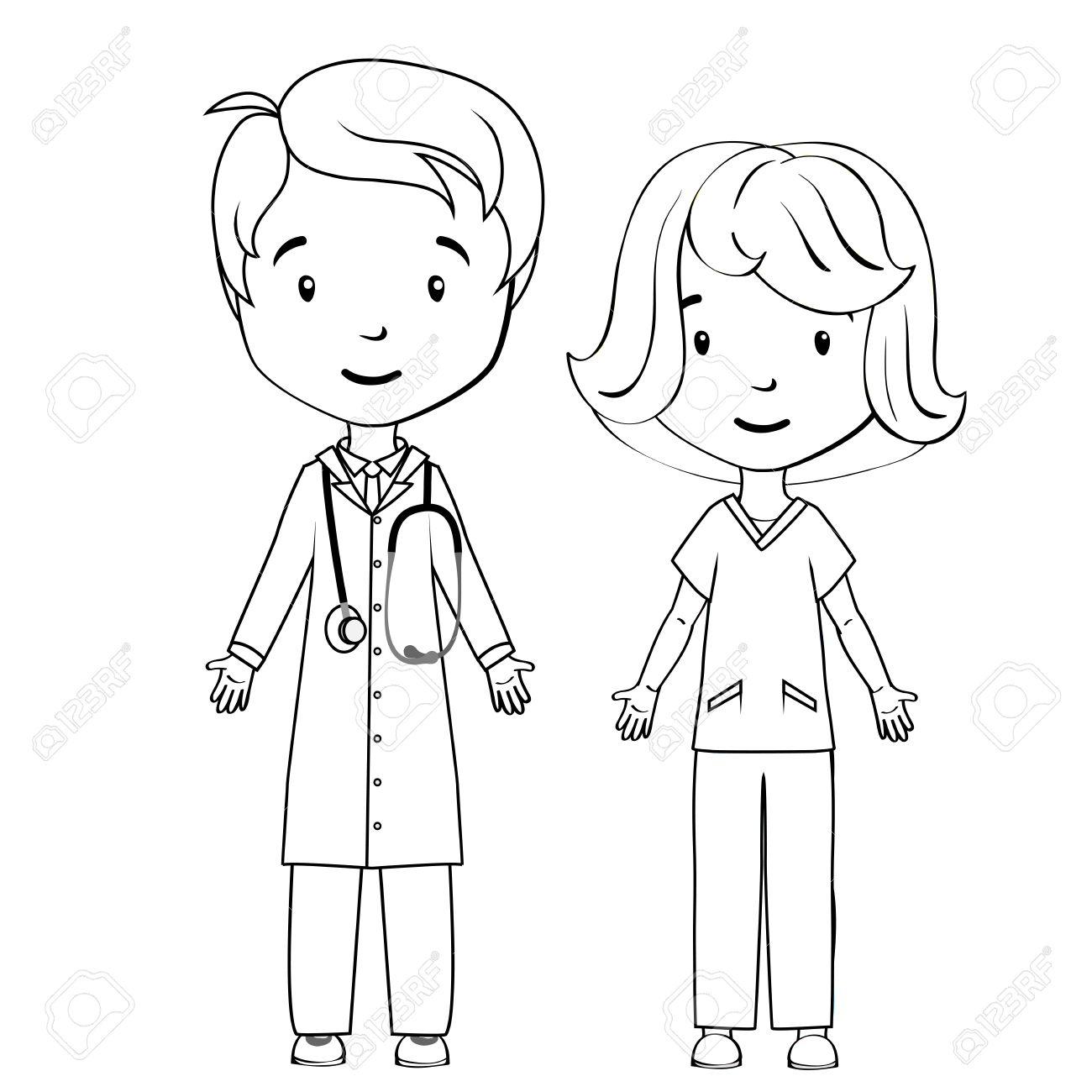 Coloring Book Cartoon Doctor And Nurse Stock Vector