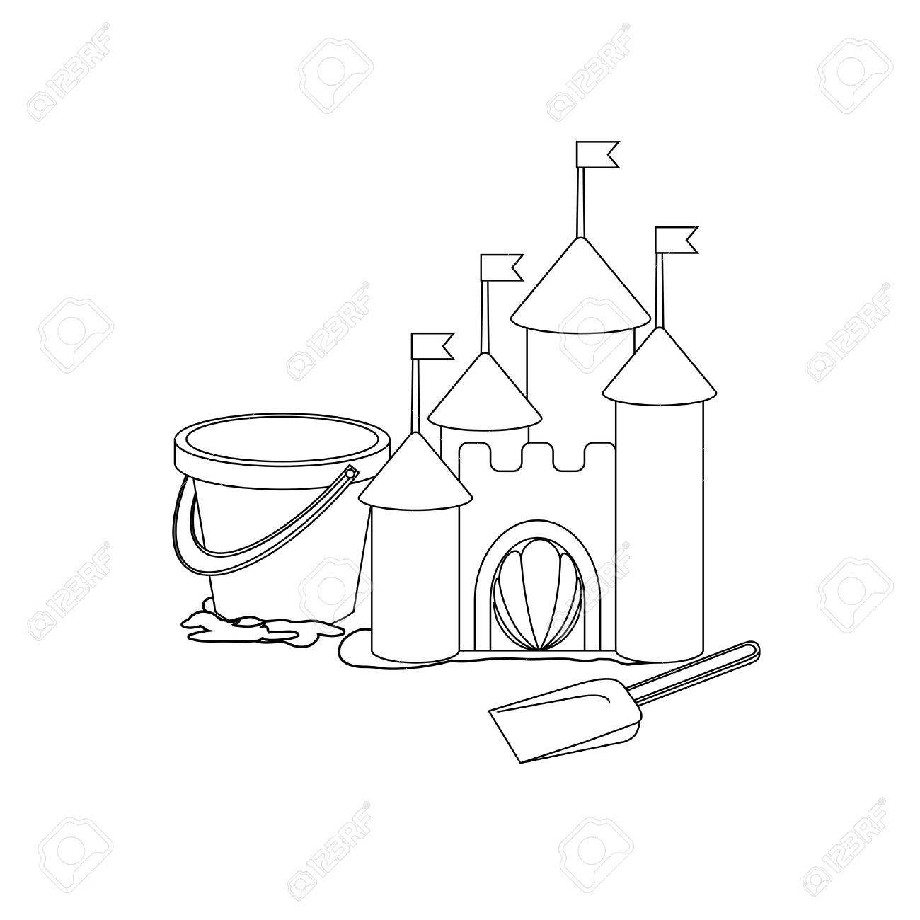 Coloring Book: Cartoon Sand Castle Royalty Free Cliparts, Vectors ...