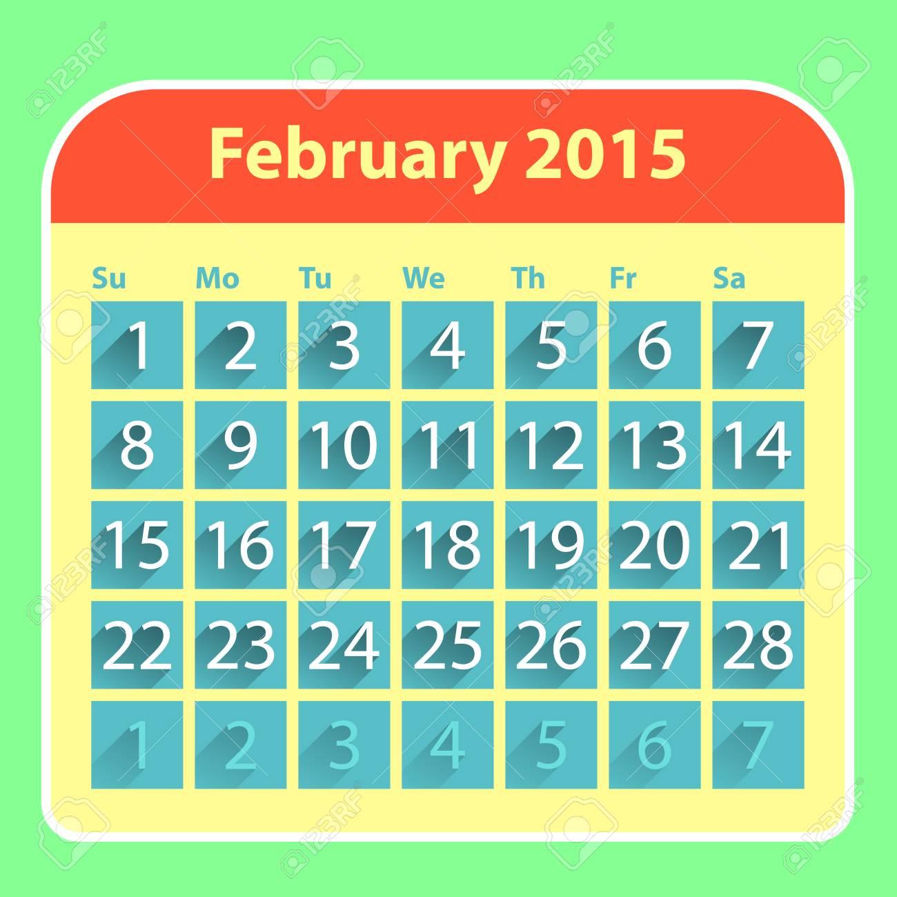 Flat Style February 2015 Calendar Design Template Royalty Free