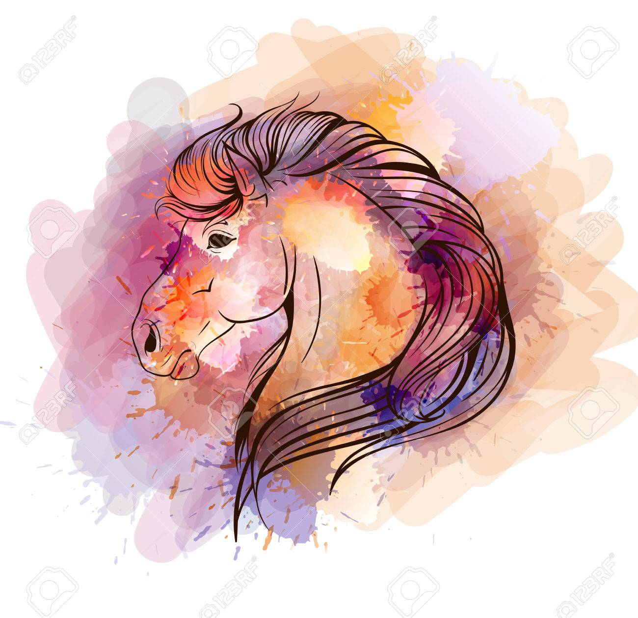 Watercolor Horse Head Royalty Free Cliparts Vectors And Stock Illustration Image 32761748
