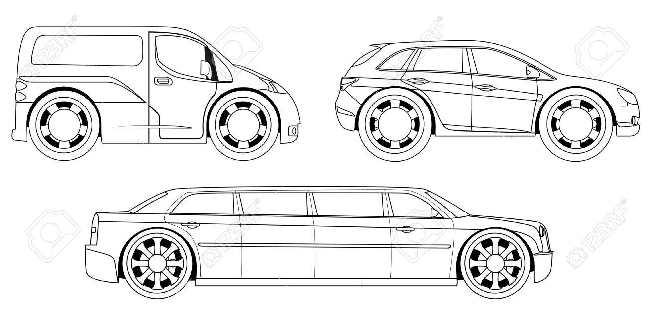 Coloring Book: Stylized Cars Set Royalty Free Cliparts, Vectors, And ...