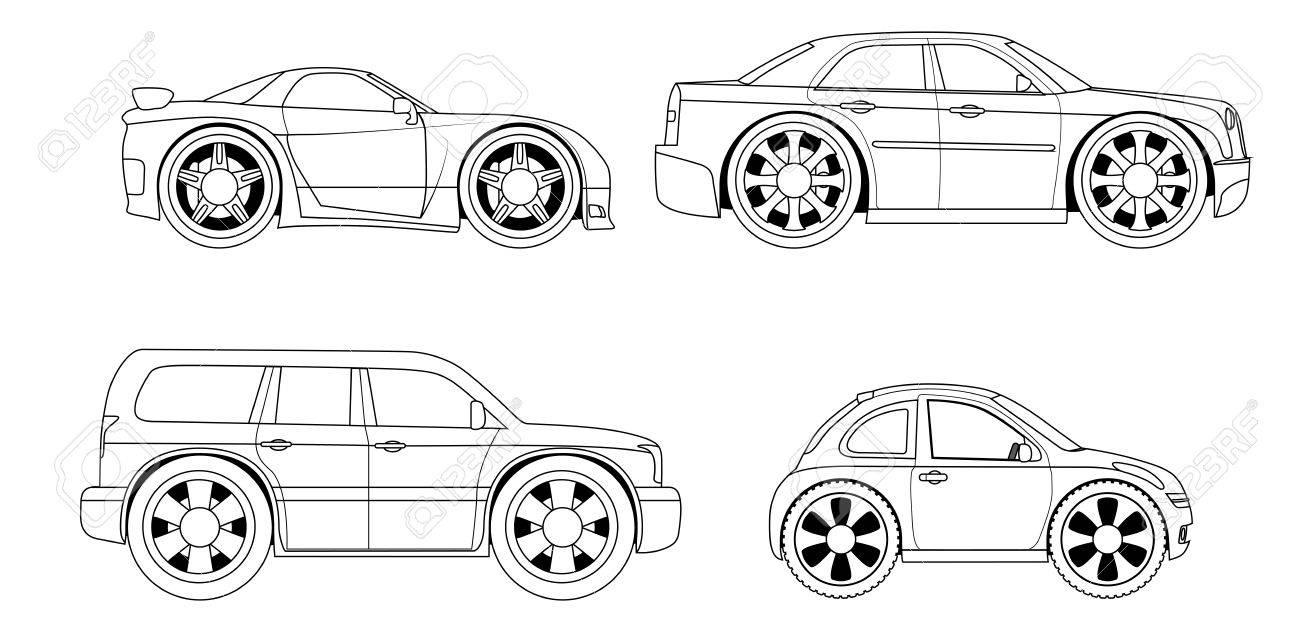塗り絵 様式車セットのイラスト素材ベクタ Image 32991912