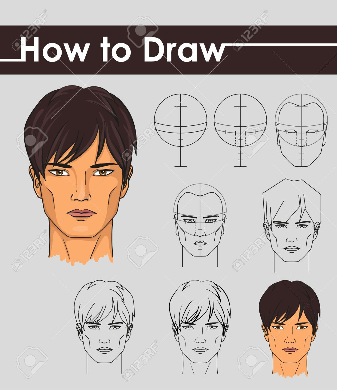 Draw Tutorial Step By Step Male Face Stock Vector 34407693