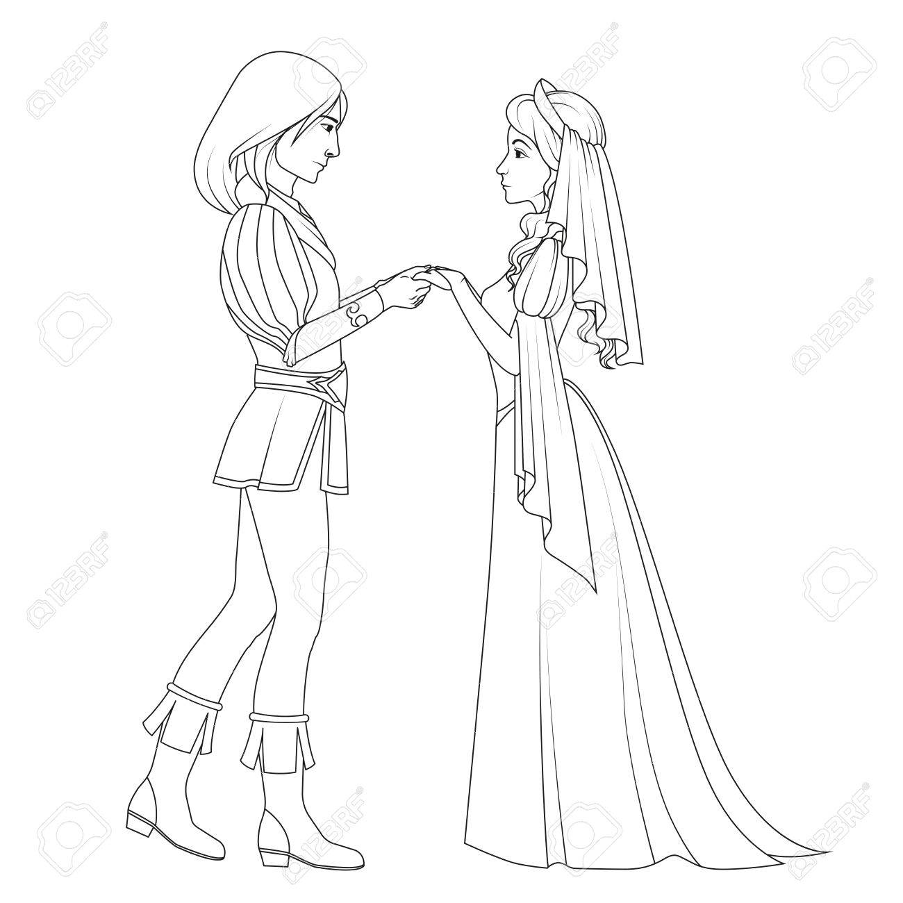 Coloring Book: Medieval Couple Holding Hands Royalty Free Cliparts ...