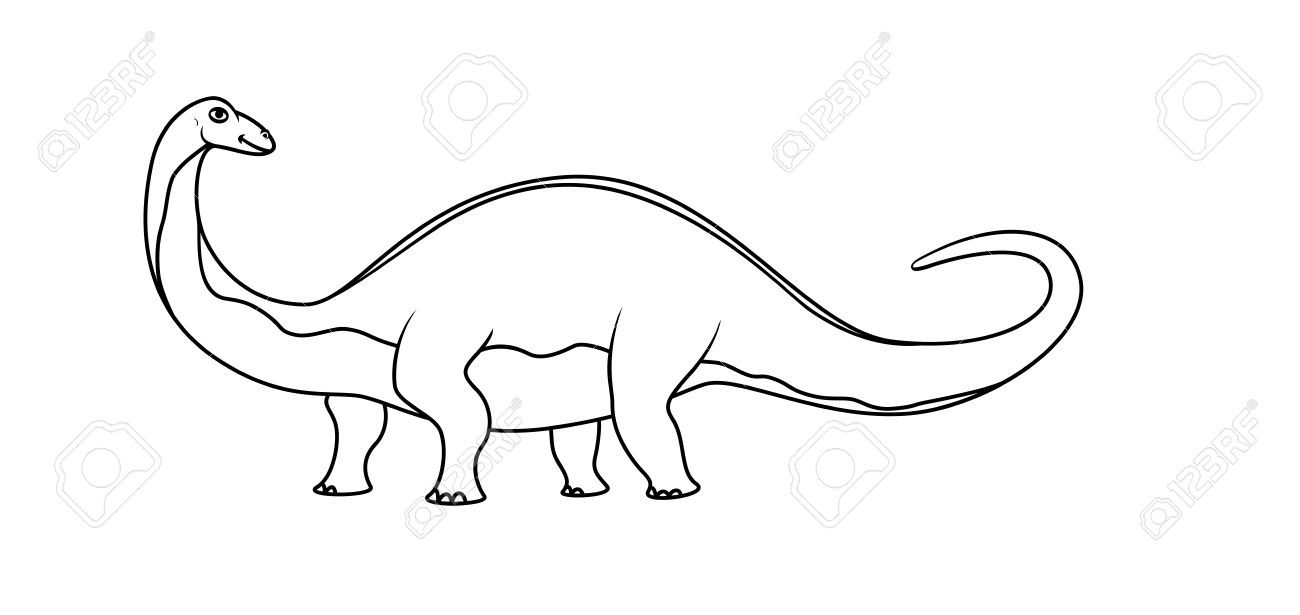 Coloring Book: Brontosaurus Royalty Free Cliparts, Vectors, And ...