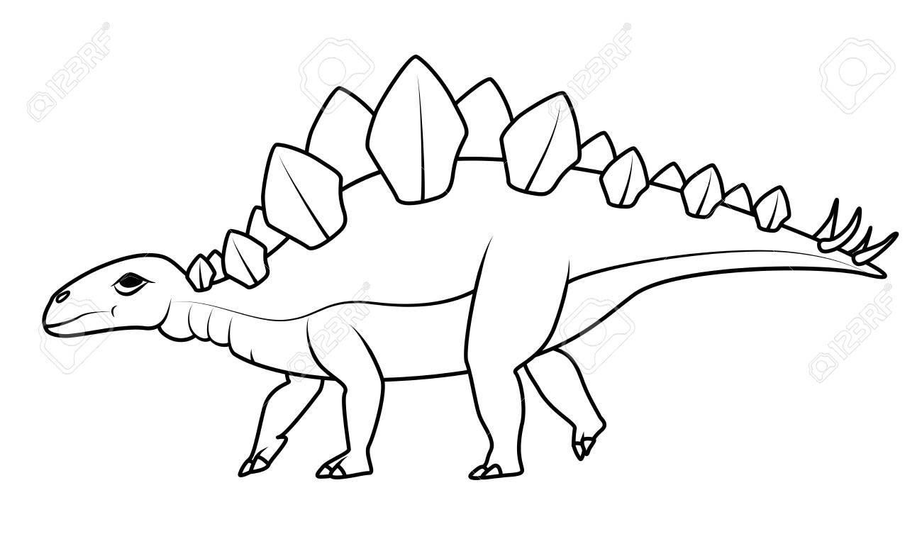 写真素材 , 塗り絵 恐竜シリーズ ステゴサウルス