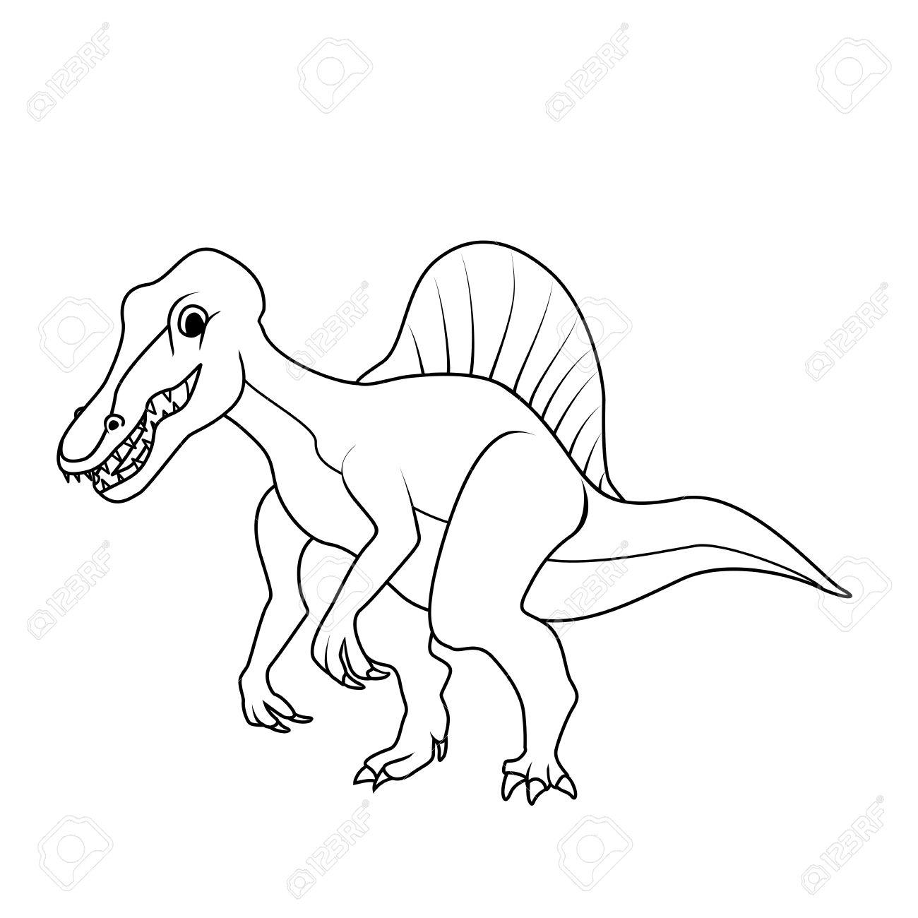 Coloring Book Spinosaurus Dinosaur Royalty Free Cliparts Vectors