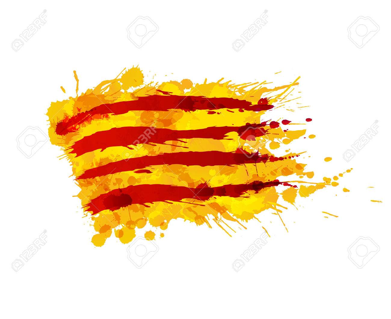 Flag of Catalonia made of colorful splashes - 48213701