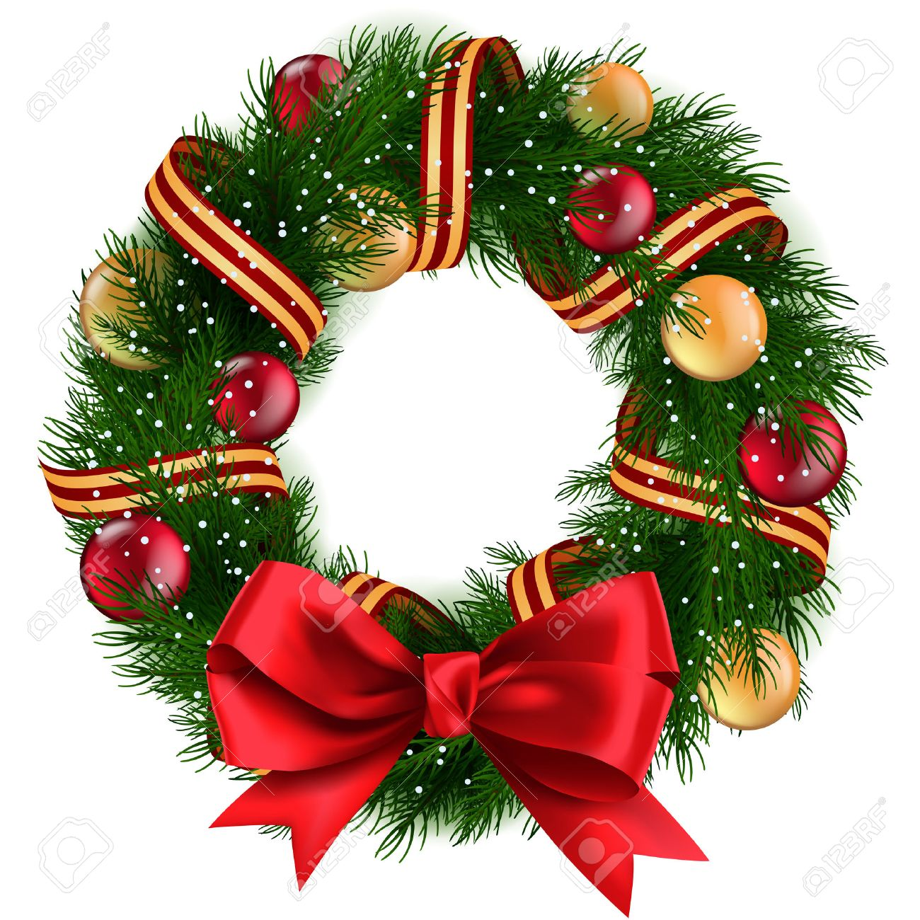 Christmas Wreath With Ribbons Balls And Bow Isolated