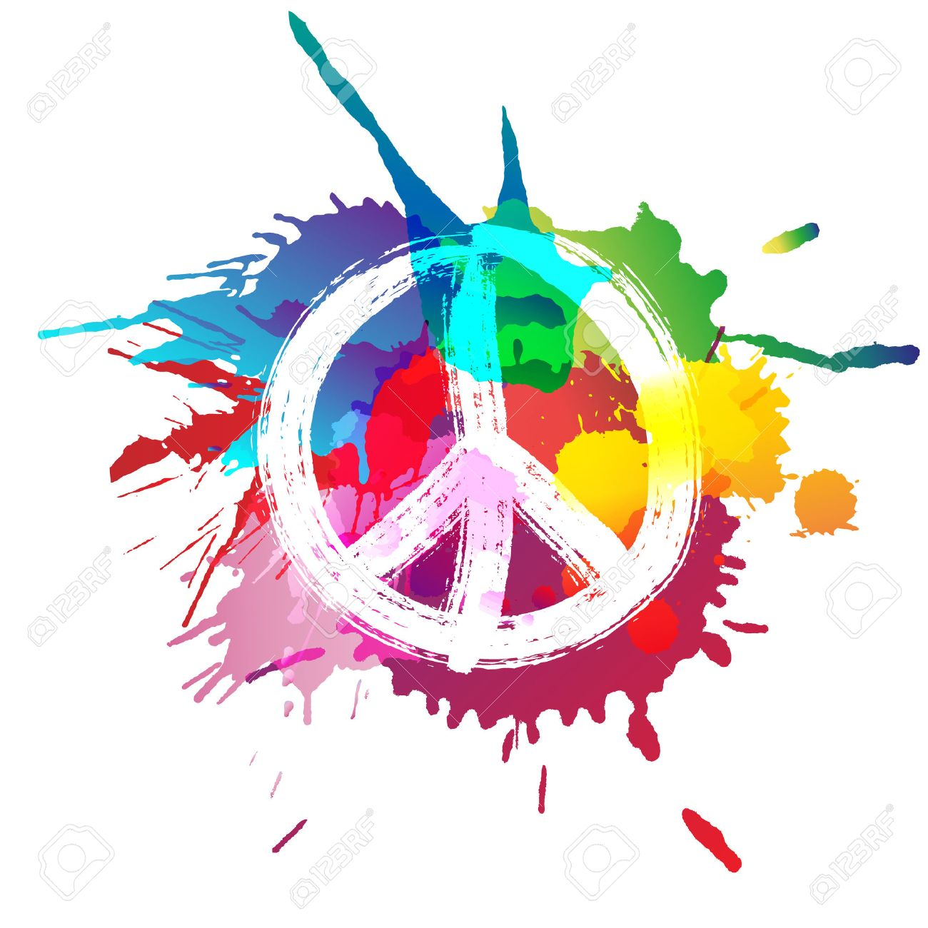 Peace sign in front of colorful splashes - 50579925