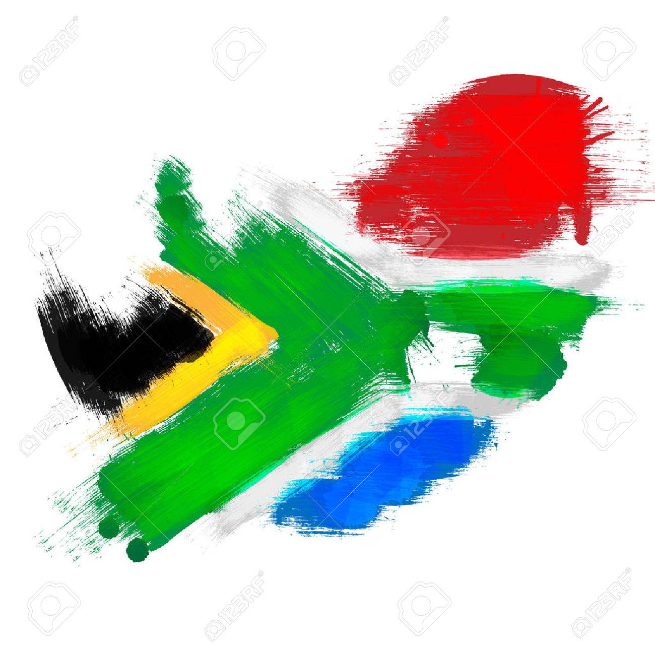 South Africa Flag In Africa Map.Grunge Map Of South Africa With South African Flag