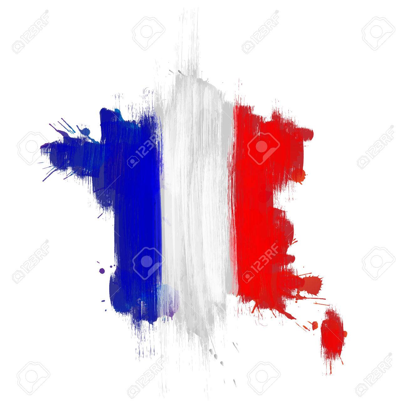 Grunge map of France with French flag - 53066133