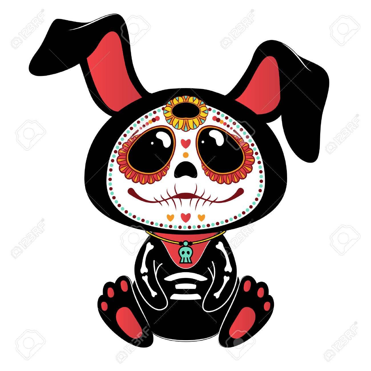 Day Of The Dead Dia De Los Muertos Style Bunny Stock Vector