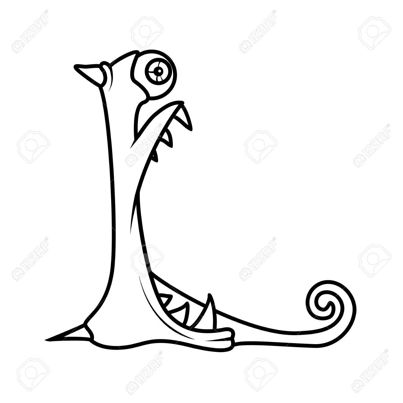 Monster alphabet coloring pages letter l