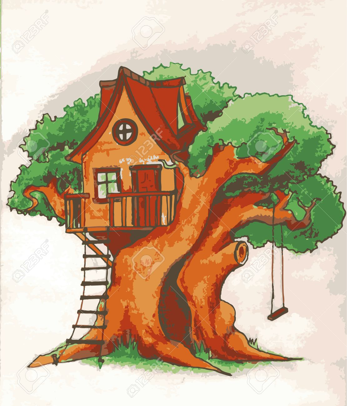 Casa Del árbol Casa En El árbol Para Los Niños Patio De Los Niños Con La Ilustración De La Terraza Del Oscilación Y De La Escala