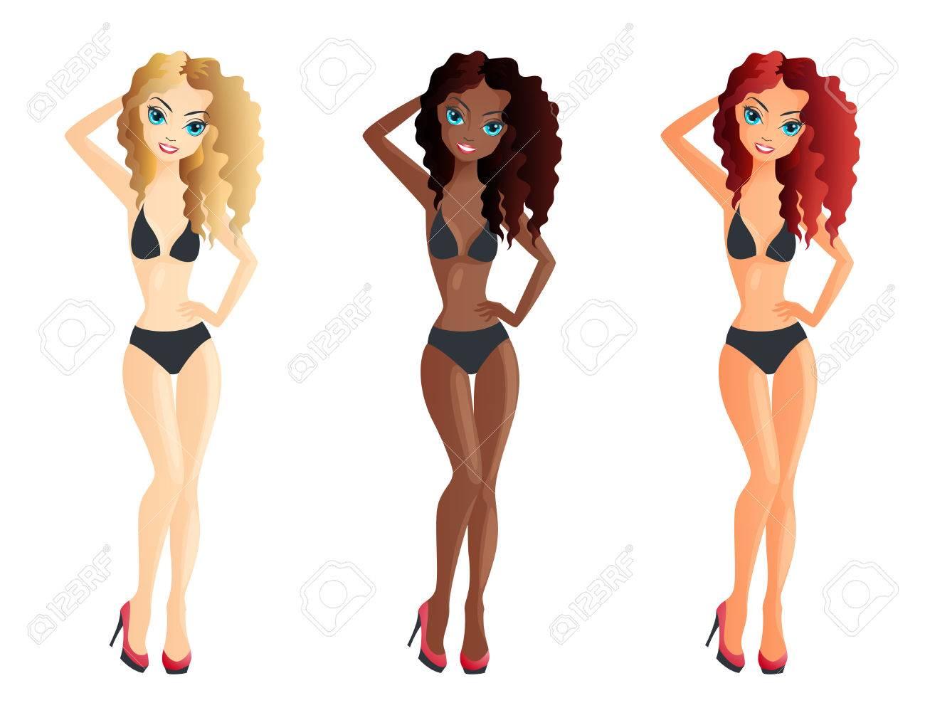 2d248faa250e6 Set Of Three Girls Wearing Bikini Swimsuit Royalty Free Cliparts ...