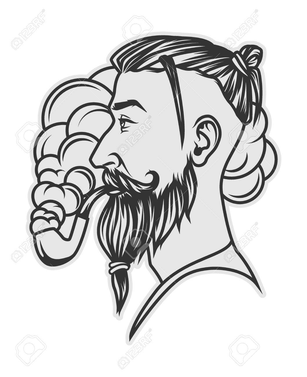 Hipster with beard and undercut hairstyle smoking tube portrait Stock  Vector , 79737302