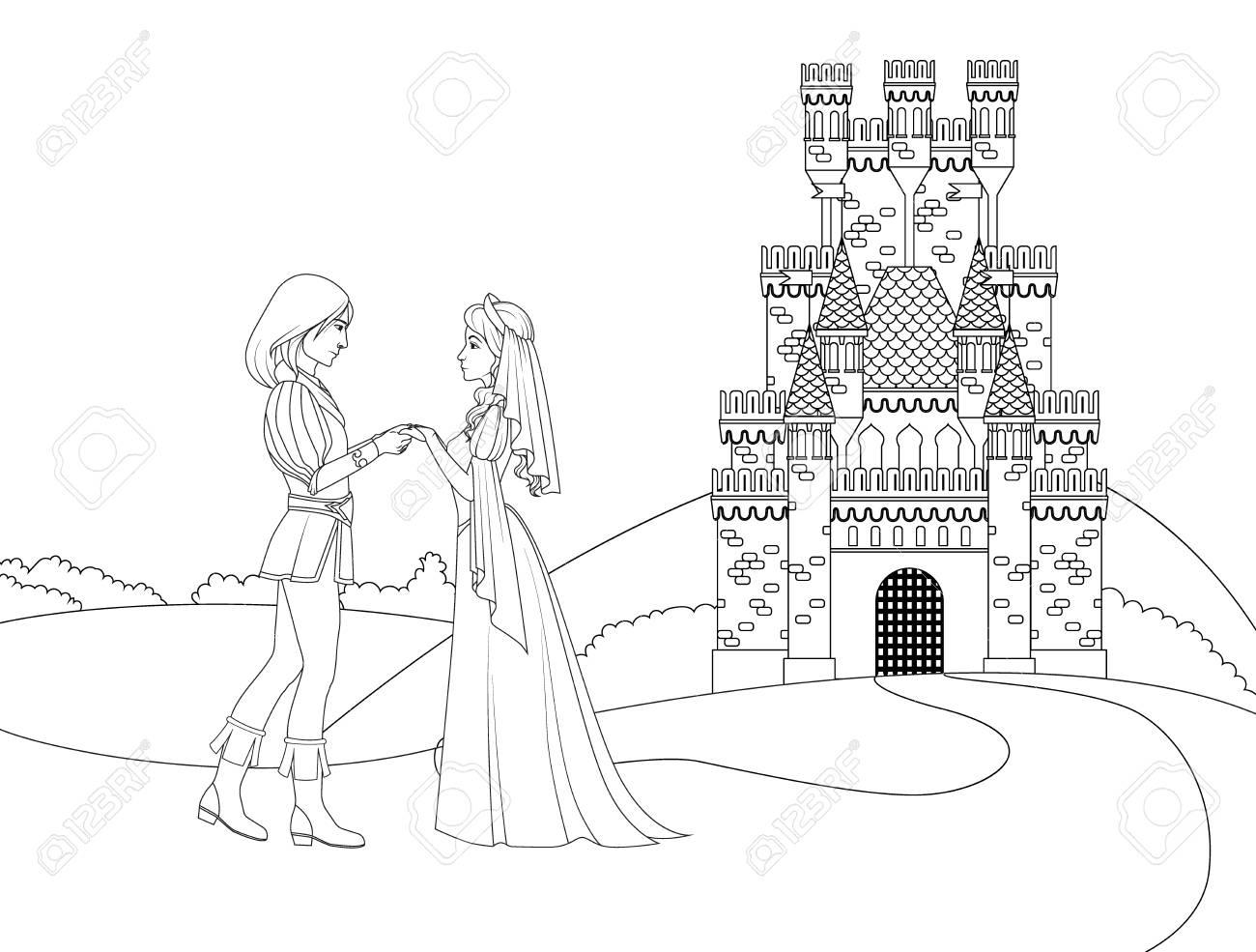 Libro Para Colorear Principe Y Princesa Frente Al Castillo