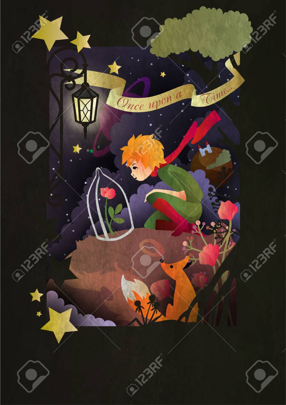 Little boy with rose an fox sitting in front of night sky - 114753468