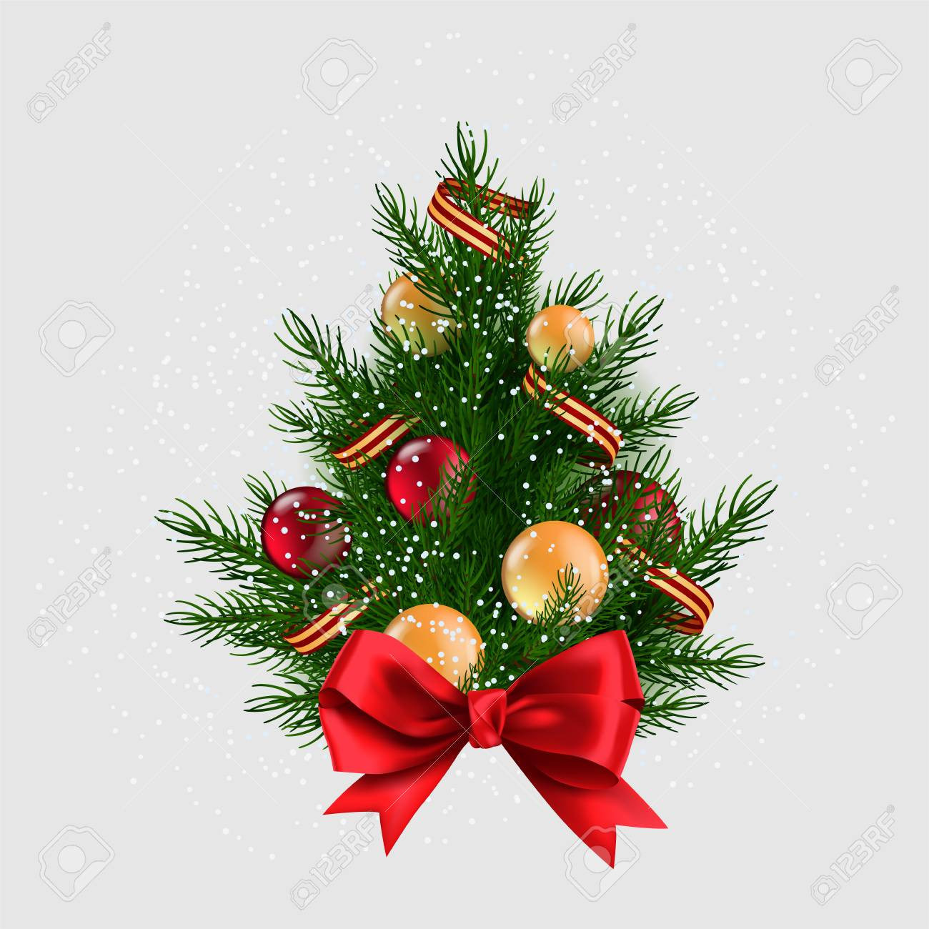Realistic Christmas Tree With Snow Colorful Baubles An Ribbon Royalty Free Cliparts Vectors And Stock Illustration Image 126951961