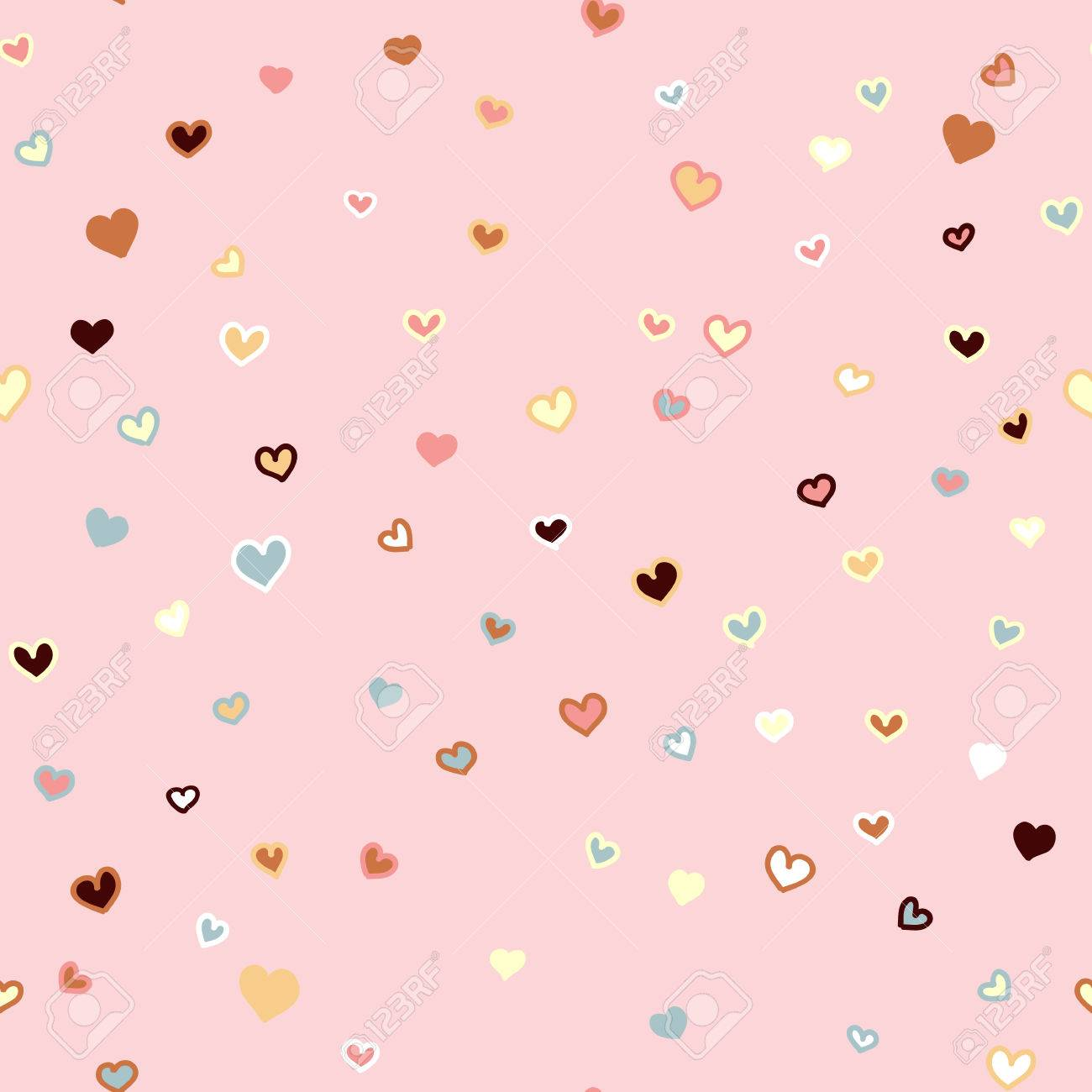 girly pink seamless vector hand drawn pattern with hearts valentines day background stock vector 51112069