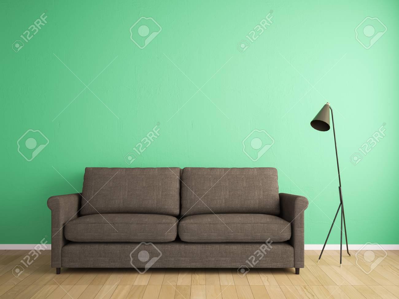 Attraktiv Samtsofa Grün Dekoration Von Dekorationsstoff Sofa Und Grüne Wand Standard-bild -