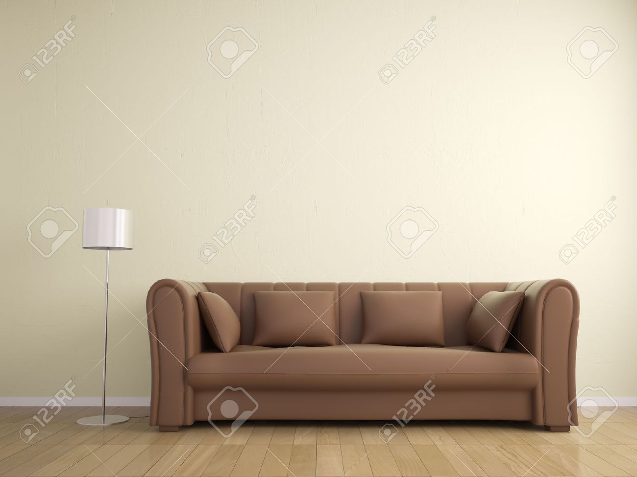 Sofa And Lamp Furniture Wall Beige Color Interior Stock Photo  # Muebles Panorama