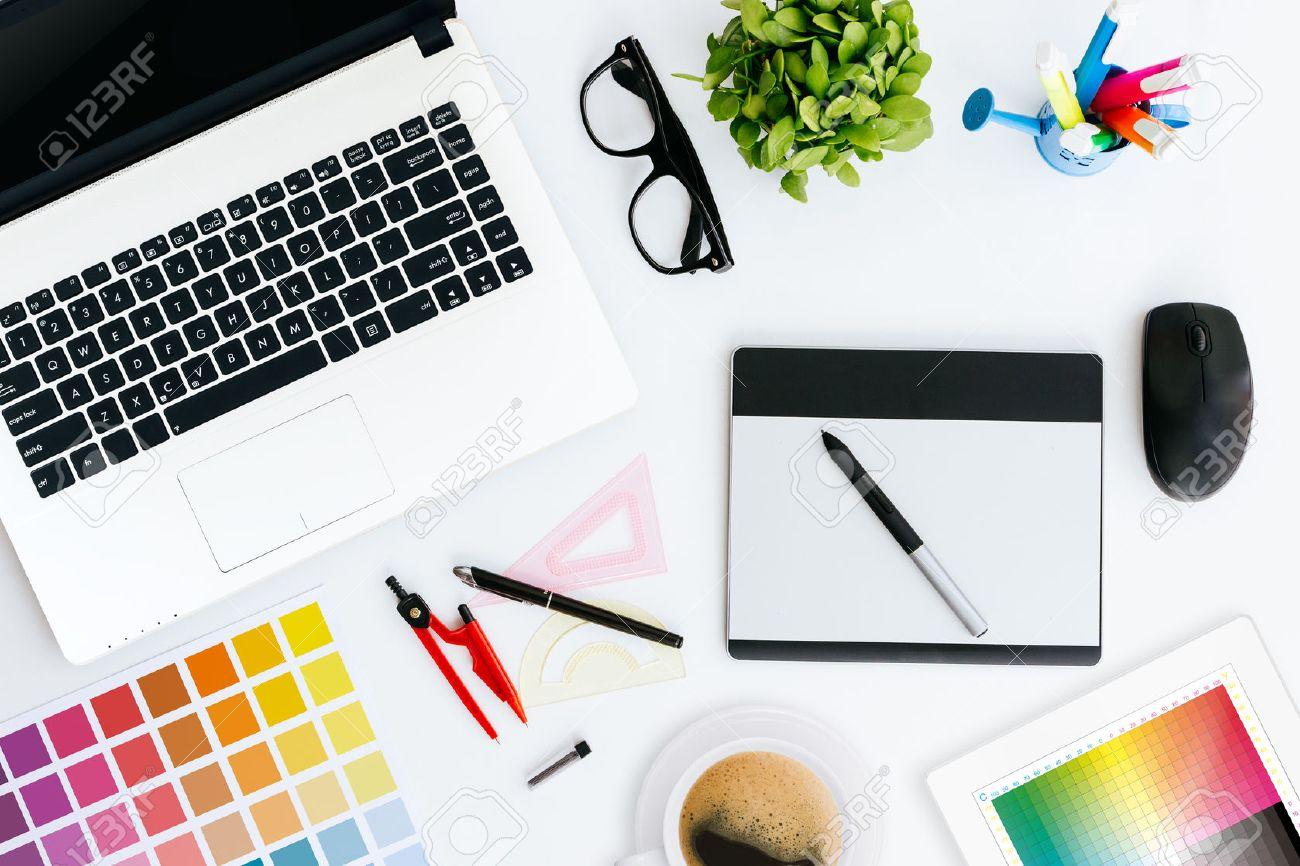 professional creative graphic designer desk stock photo picture and