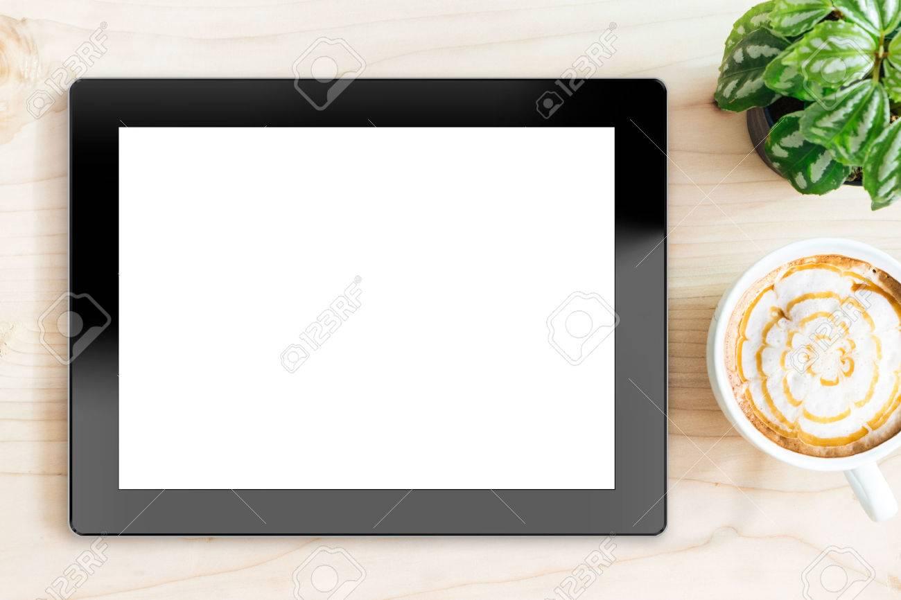 Tablette écran blanc sur bois bureau sur vue de dessus banque d