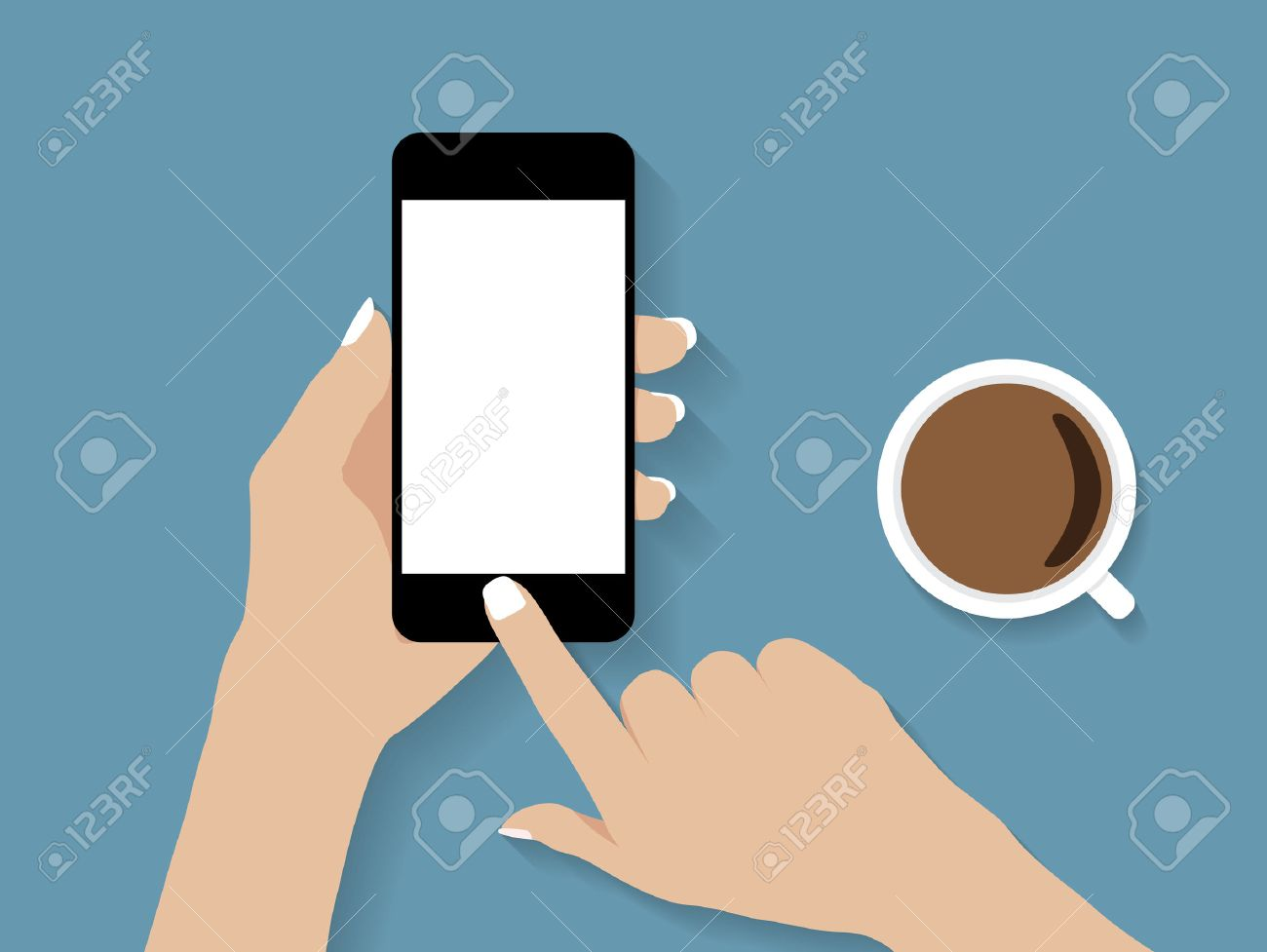 hand holding and touch phone vector design - 51303582