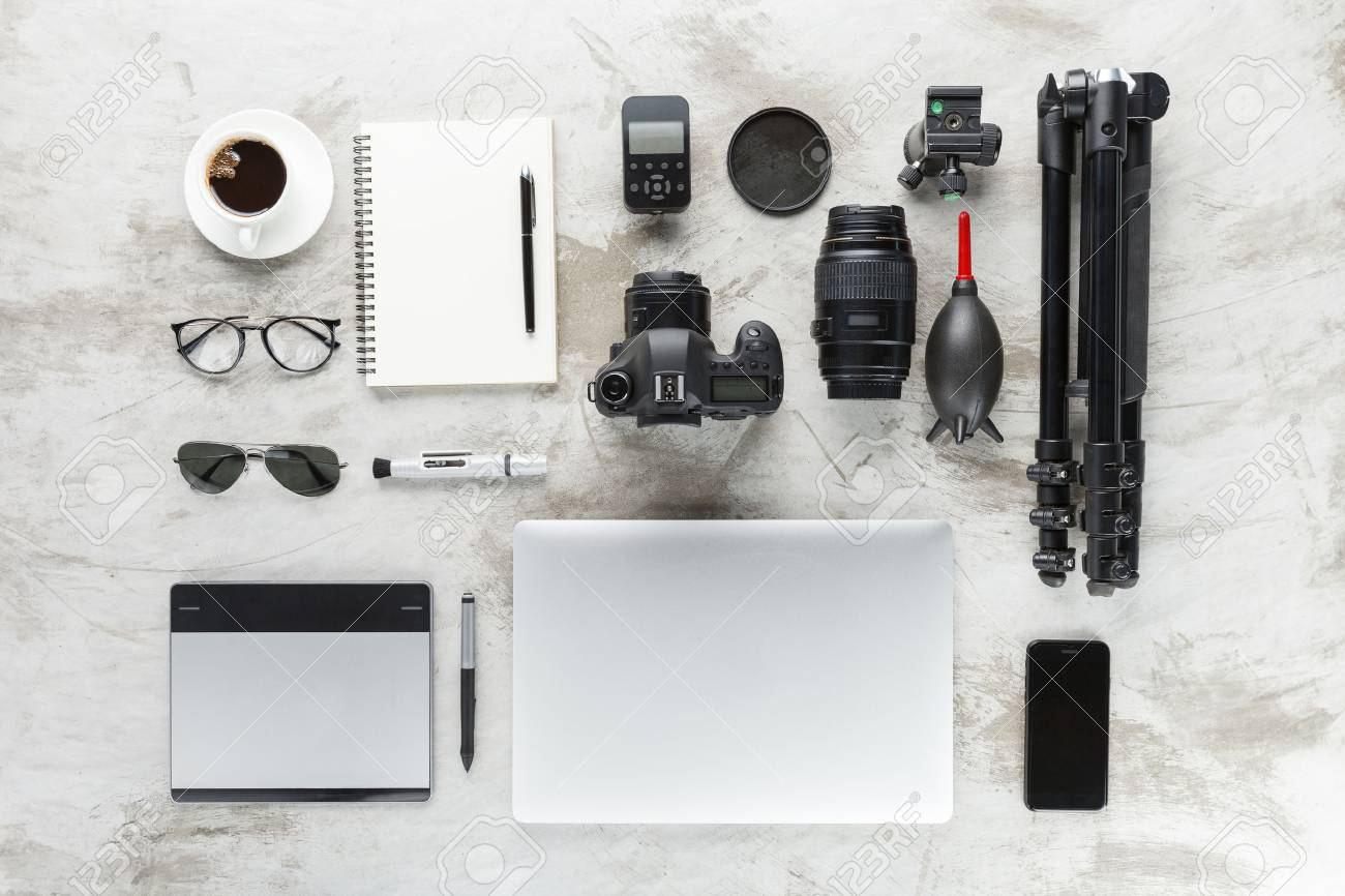 Photography Accessories On Work Table Top View Stock Photo Picture And Royalty Free Image Image 74263339