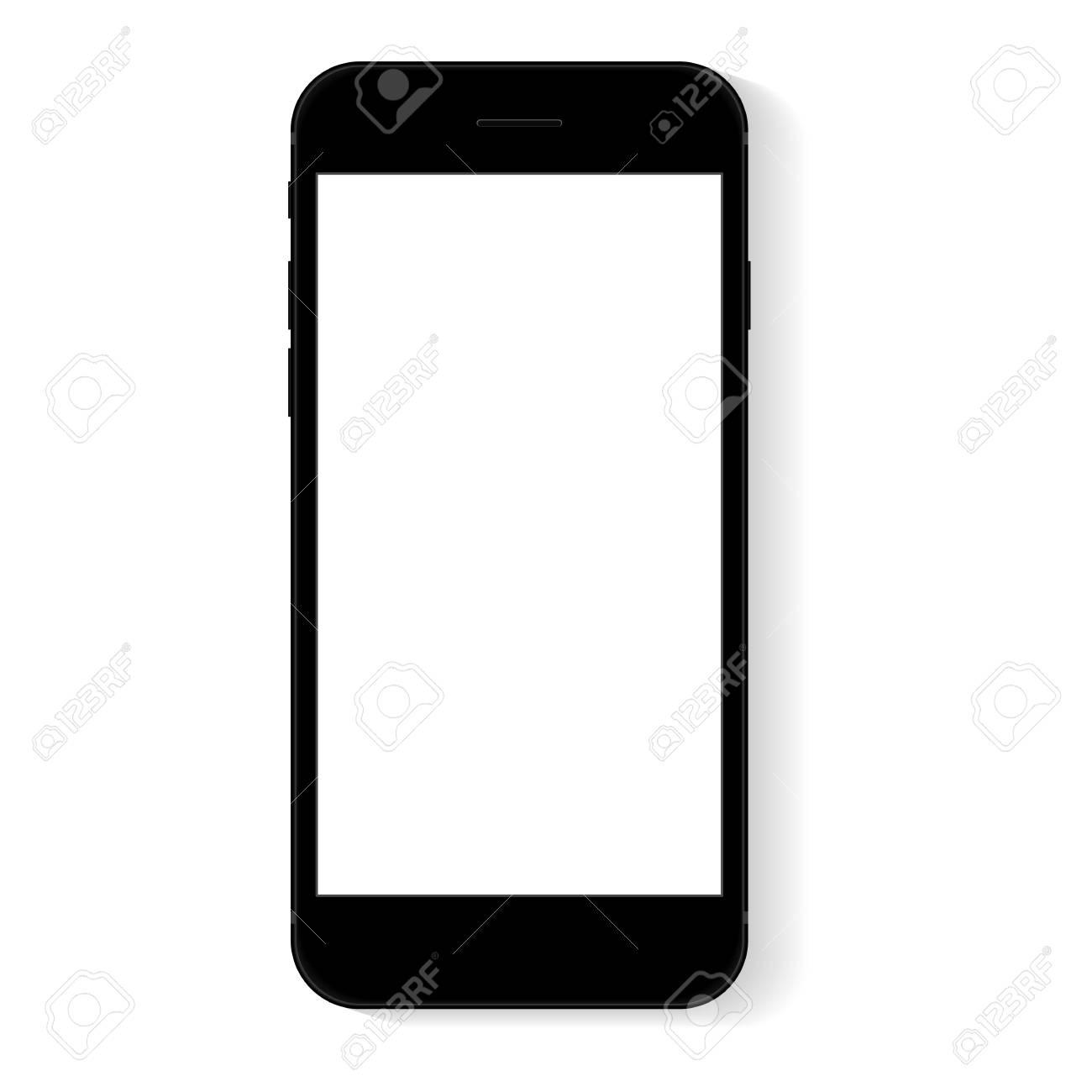 flat phone white screen, vector drawing modern smart phone design - 82077036