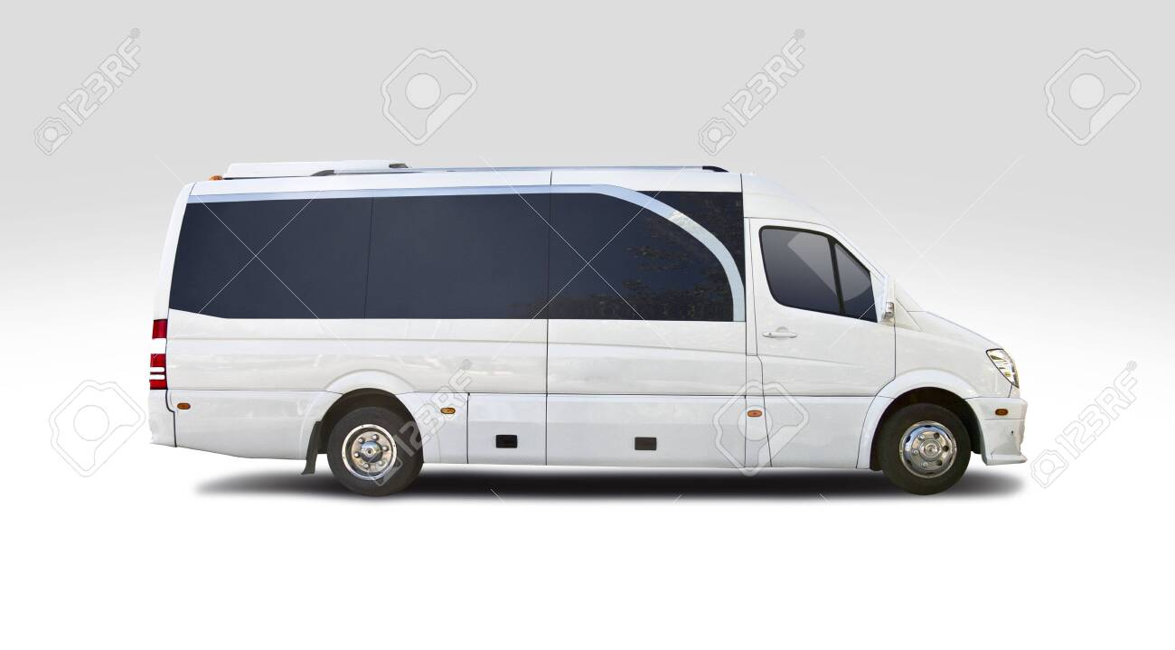 Small luxury white bus isolated on white - 145940345
