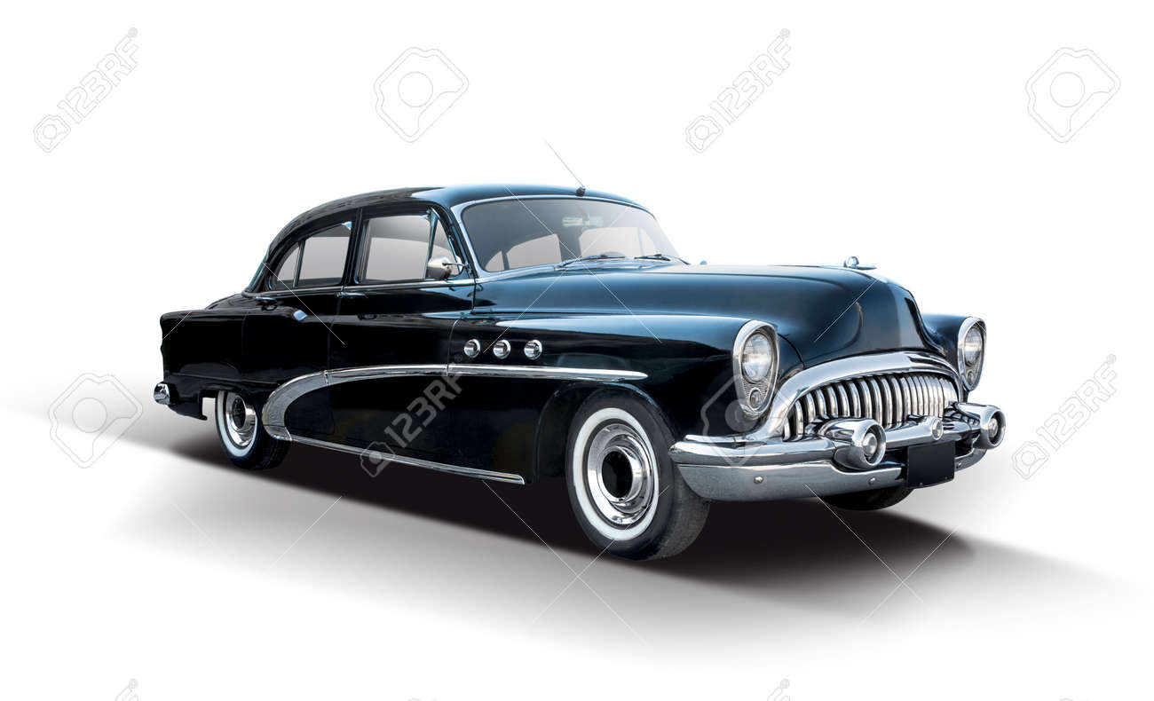 Classic American car isolated on white background - 165196276