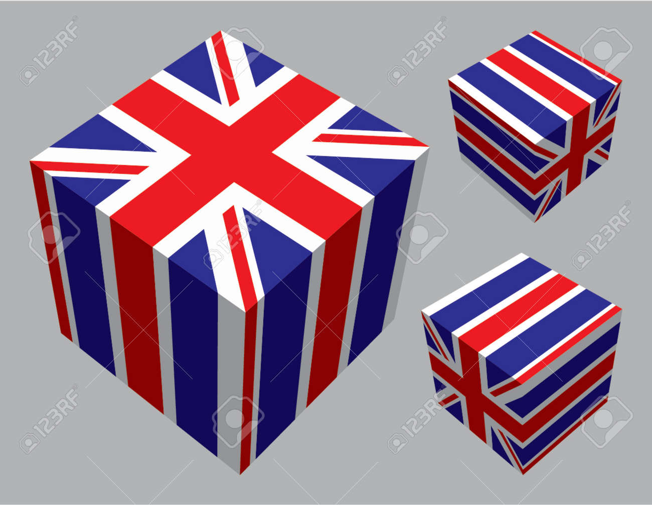 The British flag extruded and mapped onto three cubes. Stock Vector - 707270