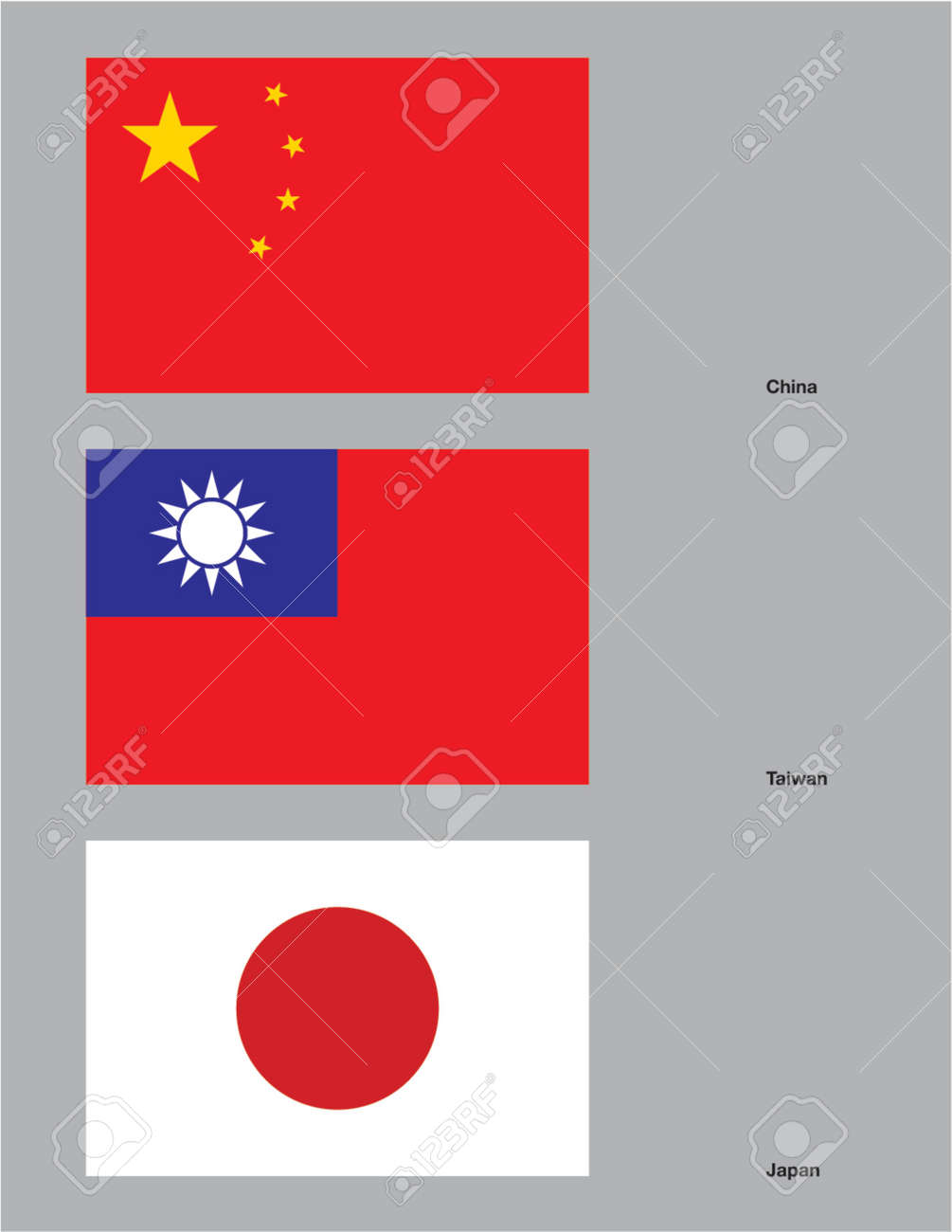 the flags of china taiwan and japan drawn in cmyk and placed