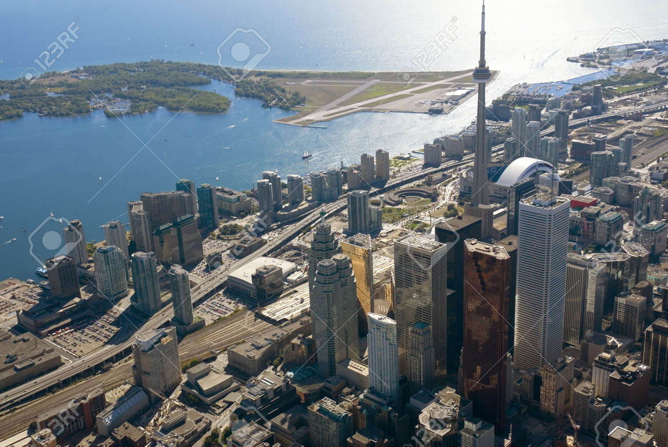 The towers of downtown Toronto, Canada, seen from just above Yonge Street. Stock Photo - 2833103