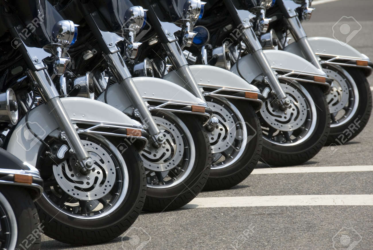 Six police motorcycles parked on the National Mall in Washington, DC. Stock Photo - 2838593