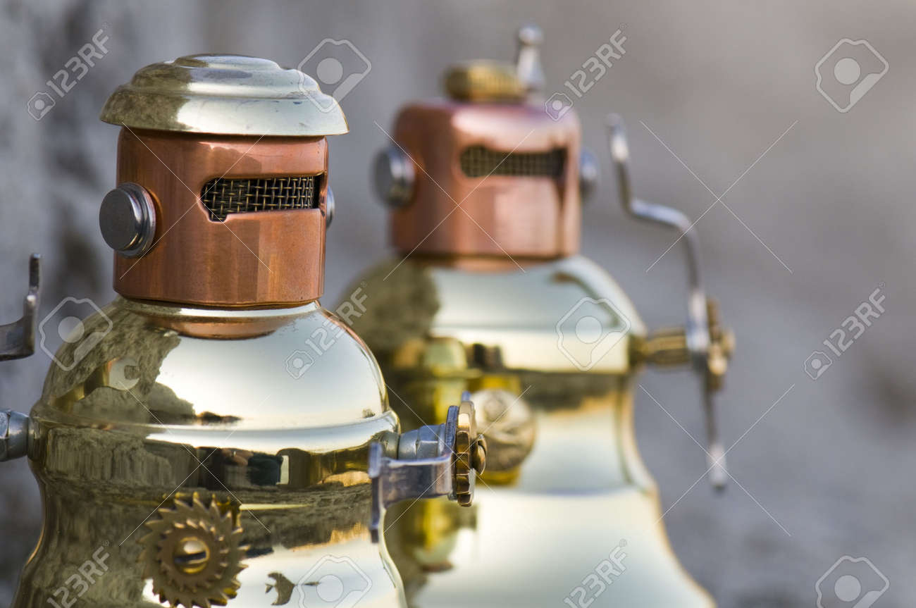 Two very angry metal robots. Stock Photo - 3040669