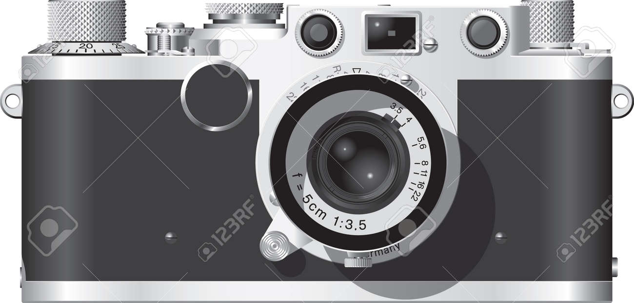 Front elevation of a classic German rangefinder camera with a 50mm lens. Stock Vector - 3050655