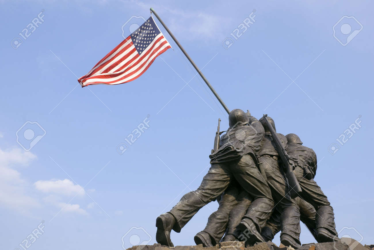 The US Marine Corps War Memorial is located near Arlington National Cemetery in Rosslyn, Virginia. It is dedicated to all personnel of the United States Marine Corps (USMC) who have died defending their country since 1775. Stock Photo - 3096865