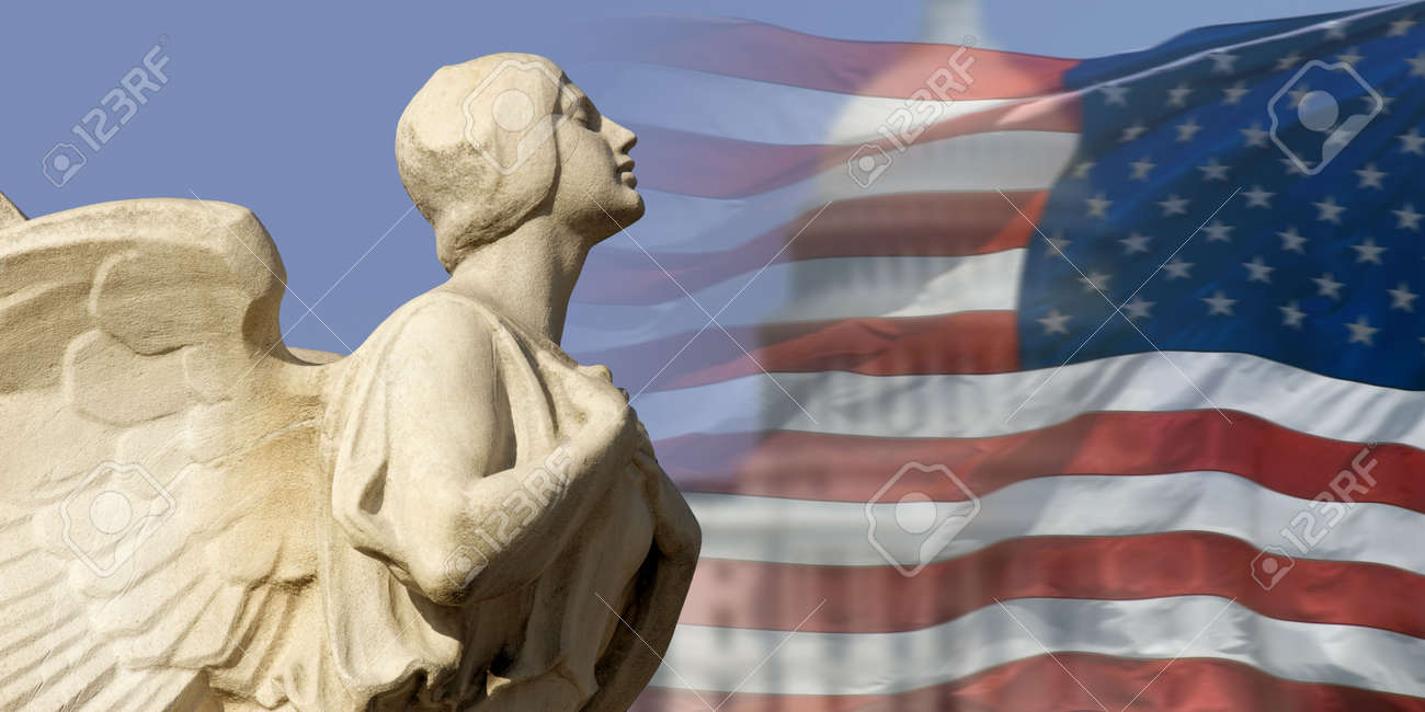The winged figure of Democracy pursues the symbols of American power and nationhood. Stock Photo - 3098278