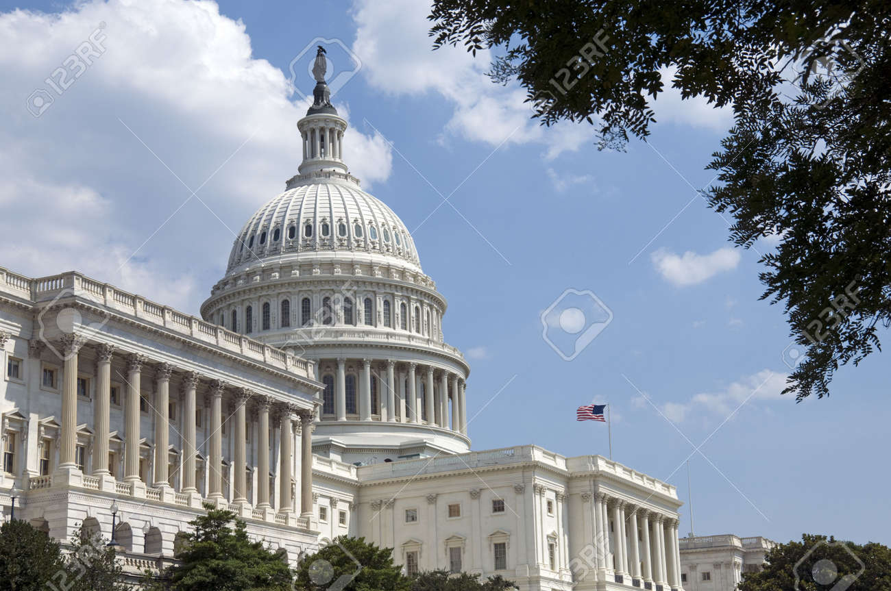 The Capitol, located in Washington, DC, is the building in which the United States Congress meets. It is at the east end of the National Mall, a site described by the engineer who chose it as Stock Photo - 3416431