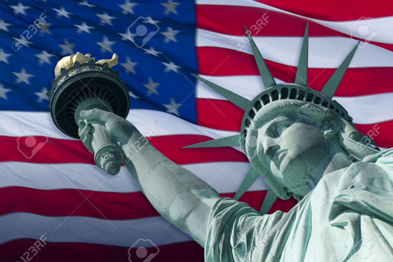 The Statue of Liberty Enlightening the World was a gift of friendship from the  of France to the  of the United States and is a universal symbol of freedom and democracy. Sculptor Frederic-Auguste Bartholdi was commissioned to design a sculptu Stock Photo - 3535002