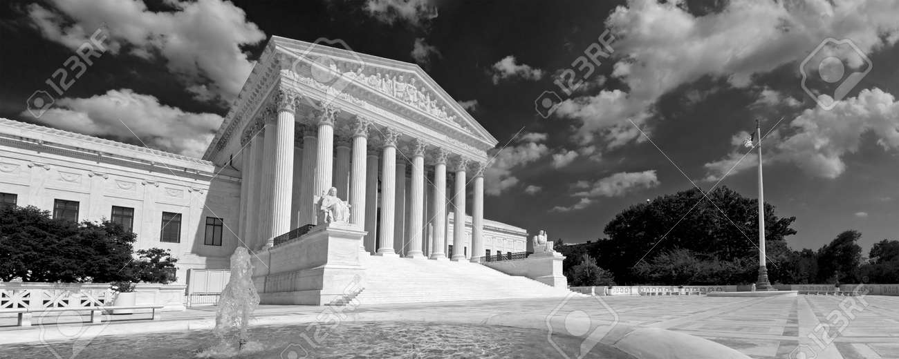 A black and white panorama of the front of the US Supreme Court in Washington, DC. Stock Photo - 4134685