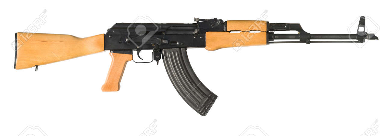 An AK-47 (Avtomat Kalashnikova) Kalashnikov assault rifle on white. The largest original file shows the gun at half its actual size. A clipping path is included for easy isolation. Stock Photo - 5874080