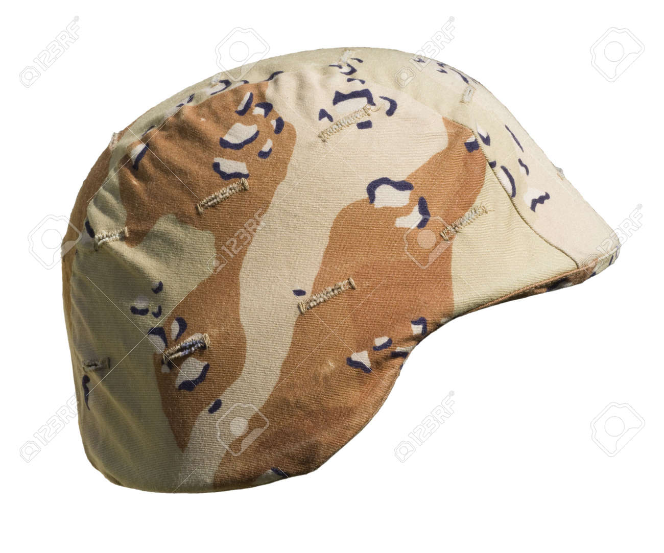 A US PASGT  helmet with a Desert Battle Dress Uniform (chocolate-chip) camouflage cover from Operation Desert Storm, 1990&ETH,91, commonly referred to as the Gulf War. Stock Photo - 6999521